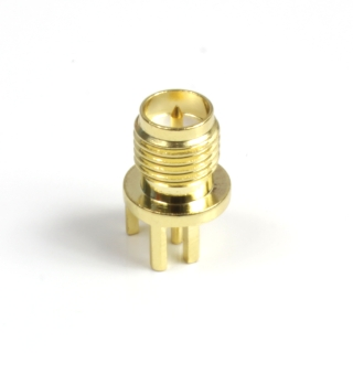 RP-SMA, Plug Female, for 1mm PCB, short, edgemount